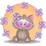 Kat met bloemen royalty-vrije illustratie