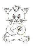 Kat met de worst, contouren Royalty-vrije Stock Afbeeldingen