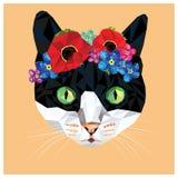 Kat met een bloemenkroon royalty-vrije illustratie