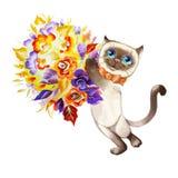 Kat met een boeket van bloemenvector stock illustratie