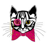 Kat met een boog royalty-vrije illustratie