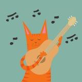 Kat met een gitaar Royalty-vrije Stock Afbeeldingen