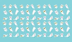 Kat met een roze cirkel ter plekke Er zijn velen Blauwe achtergrond royalty-vrije illustratie