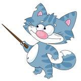 Kat met een wijzer Royalty-vrije Stock Afbeelding