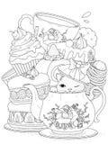 Kat met gebakje en thee vector illustratie