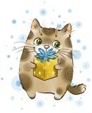 Kat met gift royalty-vrije illustratie