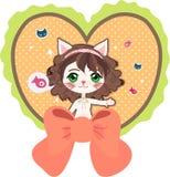 Kat met hart Stock Fotografie