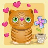Kat met hart en bloem vector illustratie