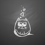 Kat met harten Stock Afbeelding