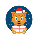 Kat met Kerstmis huidige vlakke illustratie Royalty-vrije Stock Afbeelding