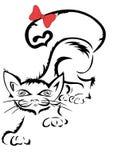 Kat met lint Royalty-vrije Stock Afbeeldingen