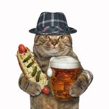 Kat met mok van bier en hotdog stock foto