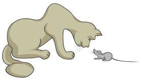 Kat met muis Stock Afbeelding