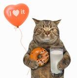 Kat met oranje doughnut en melk stock afbeelding