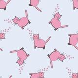 Kat met roze harten op een blauwe achtergrond Naadloos patroon Stock Foto's