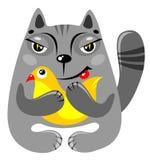 Kat met vogel Royalty-vrije Stock Fotografie