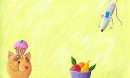 Kat, muis en kom fruit Stock Afbeelding
