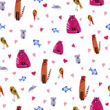 Kat, muis, vogel, vissen en harten Waterverfhand getrokken illustratie vector illustratie