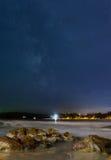 Kat nocy plaży krajobraz Obrazy Royalty Free