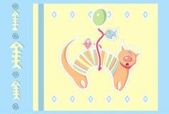 Kat op de ballon Royalty-vrije Stock Afbeeldingen