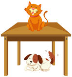 Kat op de lijst en hond in het kader van de lijst stock illustratie