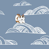 Kat op de wolk in de hemel stock illustratie
