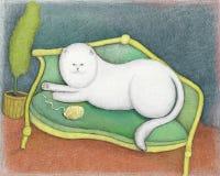 Kat op een bank Stock Afbeeldingen