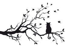 Kat op een boomtak stock illustratie
