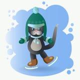 Kat op een het schaatsen piste Stock Afbeelding