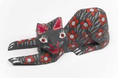 Kat op rood Stock Fotografie