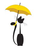 Kat in paraplu vector illustratie