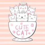 Kat, potkarakters De illustratie van de koffie en van de thee stock illustratie