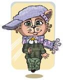 Kat, tekening, karakter, strippagina, met de hand gemaakte illustratie, beeldverhaal stock illustratie