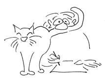 Kat terwijl het werken Stock Afbeelding