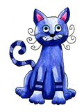Kat van de fantasie de Blauwe Waterverf stock illustratie