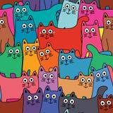 Kat velen kleurrijk volledig pagina naadloos patroon royalty-vrije illustratie