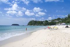 Kata beach tourists phuket island thailand Royalty Free Stock Photos