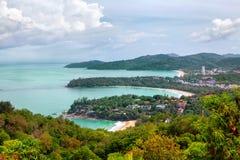 Kata Noi, Kata Beach et plage de Karon, Phuket Image libre de droits