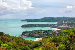 Kata Noi, Kata Beach y playa de Karon, Phuket Imagen de archivo libre de regalías