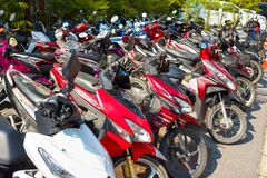 Motobikes - popular transport for rent in Thailand and other Asian countries. Kata, Phuket, Thailand - February 3, 2017: Motobikes - popular transport for rent Stock Image