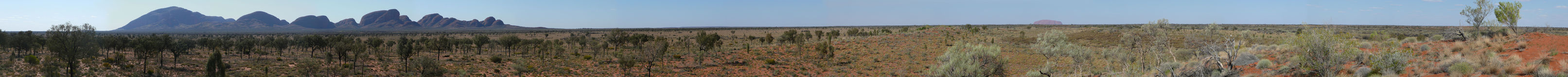 Kata Tjuta (Olgas) and Uluru (Ayers Rock) Panorama Stock Photo