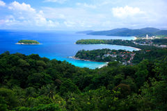 Kata View Point, Phuket, Thailand. View of Kata Noi Beach, Kata Beach, Karon Beach Stock Photo