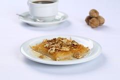 Kataifi with walnut - Traditional Turkish Dessert. Kanafeh Arabic, kadayıf Turkish, kadaif Albanian, kataifi, kadaifi Greek, is a very fine vermicelli-like Royalty Free Stock Image