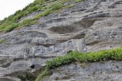 Katakomben schnitzten in die Felsen von Monchsberg in Salzburg, Österreich Lizenzfreie Stockfotos