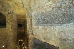 Katakomber av den St Paul, Malta inre och tunneler Arkivfoto