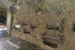 Katakomber av St Paul, Malta inre detalj Royaltyfri Bild