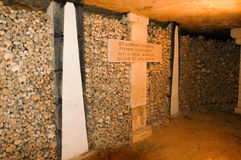 Katakomberna av Paris, Frankrike Arkivbild