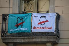 Katalanische Referendumpropaganda Stockbilder