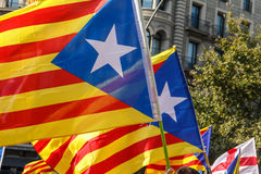 Katalanische Unabhängigkeitsflaggen Lizenzfreie Stockfotos