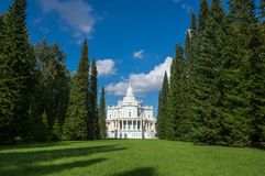 Katalnaya gorka pavilion. A part of the 18th-century `Russian mountains` complex in Oranienbaum, Saint-Petersburg Royalty Free Stock Image